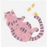 画像1: [ふろしきコミュニケーション:kata kata 七衣ふきん]ネコ ピンク(袋入) (1)