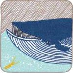 画像1: [ふろしきコミュニケーション:kata kata ふわふわタオル]ナガスクジラ ブルー(帯付) (1)