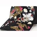 画像3: 【帽子】 刺繍綿キャップ 龍虎/黒  (3)
