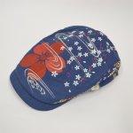 画像1: 【帽子】 刺繍ハンチング 流水桜/紺 (1)
