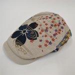 画像1: 【帽子】 刺繍ハンチング 流水桜/オフ (1)