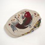 画像1: 【帽子】 刺繍ハンチング 紅鯉桜/オフ (1)