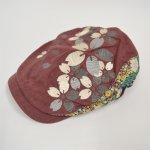 画像1: 【帽子】 刺繍ハンチング 桜/エンジ (1)