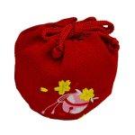 画像4: 【七五三】 3才 巾着セット ( 草履 / 巾着 ) 「赤刺繍」  シンプル 昔ながらの細鼻緒  鈴入り (4)