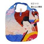 画像1: 【エコバッグ】【SHOPPING BAG】「富士山と舞妓」  日本 JAPAN 便利 面白い 大容量 (1)