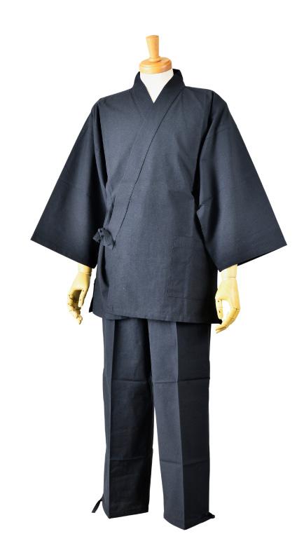 画像1: [紳士作務衣]久留米・紬織り(無地) (1)