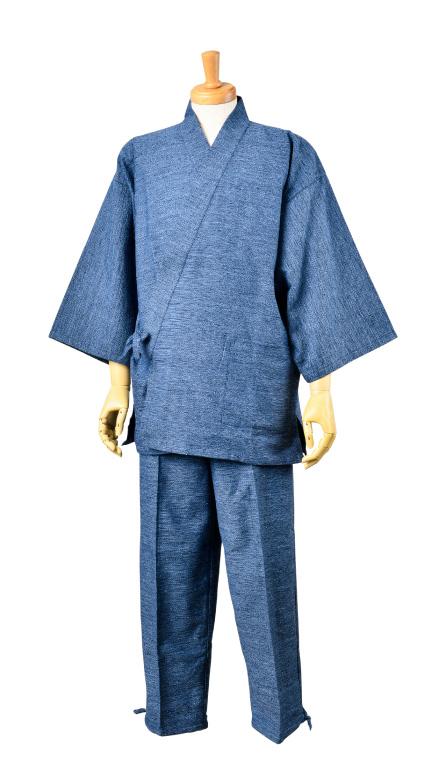 画像1: [紳士作務衣]久留米・綾織り (1)