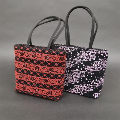画像1: [印傳調]ファスナー付二本手バッグ(小)※柄はおまかせになります。 (1)