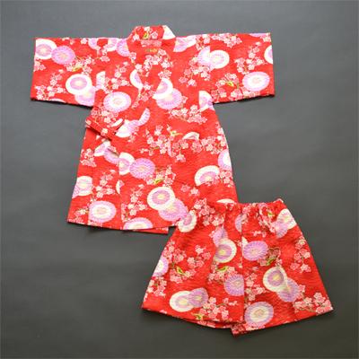 画像1: [子供甚平]傘と梅(赤) (1)