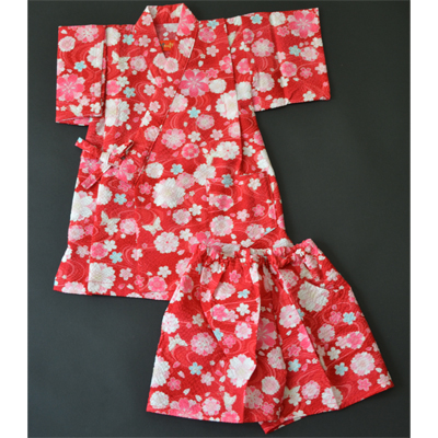 画像1: [子供甚平] 桜に蝶 赤 (1)