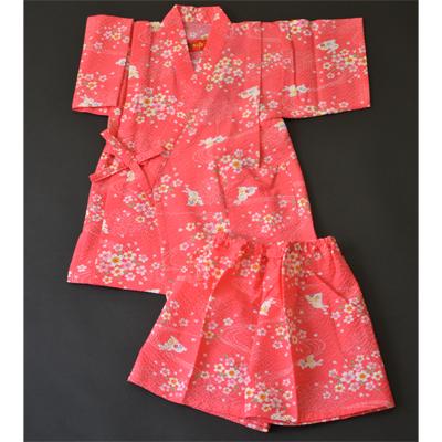 画像1: [子供甚平] 桜うさぎ ピンク (1)