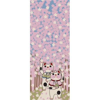 画像1: [招き猫手拭い]桜並木 (1)