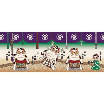 画像1: [招き猫手拭い]相撲 (1)