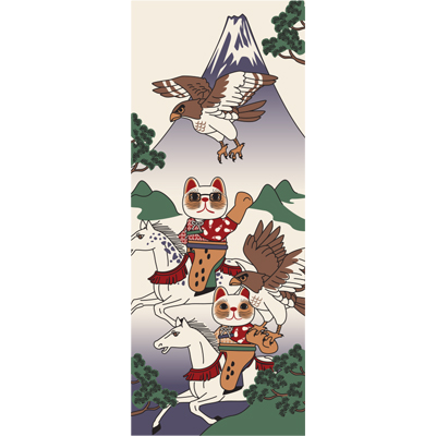 画像1: [招き猫手拭い]鷹狩 (1)