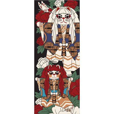 画像1: [招き猫手拭い]歌舞伎(連獅子) (1)