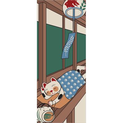 画像1: [招き猫手拭い]お昼寝 (1)