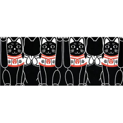 画像1: [招き猫手拭い]横並び招き猫(黒) (1)