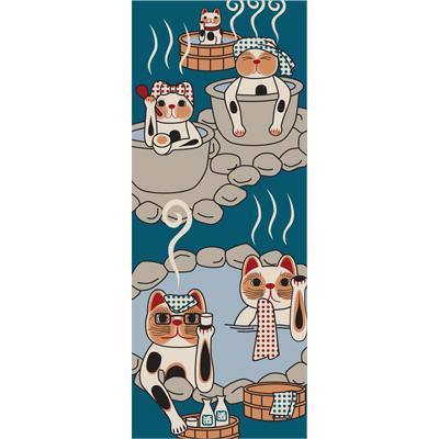 画像1: [招き猫手拭い]温泉 (1)
