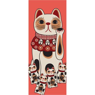 画像1: [招き猫手拭い]招き猫(赤) (1)