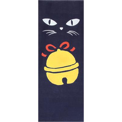 画像1: [和布華:注染手拭い]黒猫と鈴 (1)