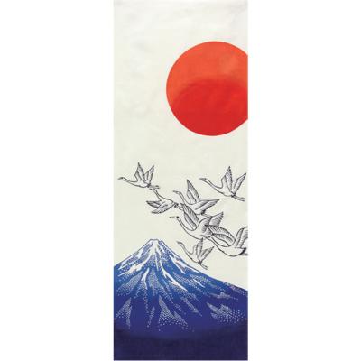 画像1: [和布華:注染手拭い]富士山と鶴 (1)