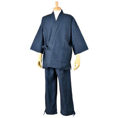 画像1: [紳士作務衣]遠州先染め・厚織刺子 (1)