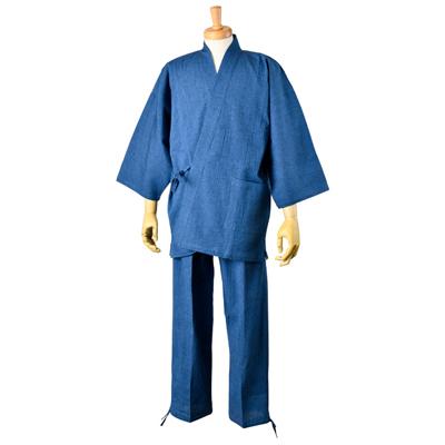 画像1: [紳士作務衣] 綿麻楊柳・無地 (1)