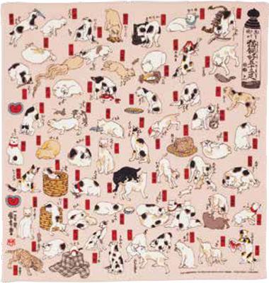 画像1: [ふろしきコミュニケーション:二巾ちりめん友禅]猫飼好五十三疋(みょうかいこうごじゅうさんびき)ピンク (1)