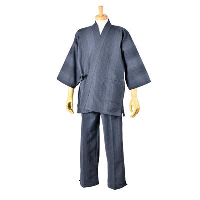 画像1: [紳士作務衣]遠州先染め・ドビー刺子 (1)