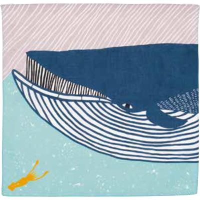 画像1: [50cm角 katakata むすび]ナガスクジラ ブルー(帯付) (1)