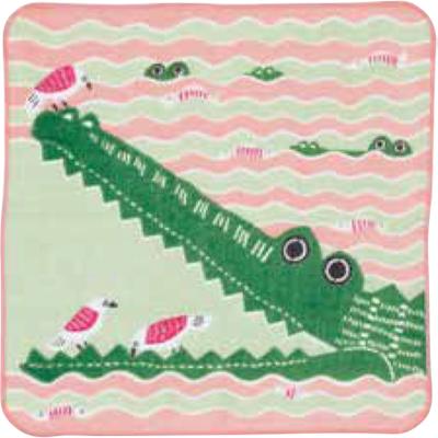 画像1: [ふろしきコミュニケーション:kata kata ふわふわタオル]ワニ ピンク(帯付) (1)