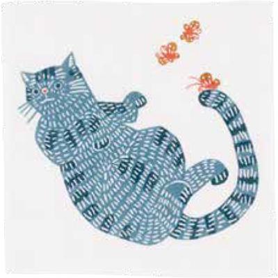 画像1: [ふろしきコミュニケーション:kata kata 七衣ふきん]ネコ ブルー(袋入) (1)