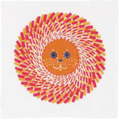 画像1: [ふろしきコミュニケーション:kata kata 七衣ふきん]ライオン オレンジ(袋入) (1)