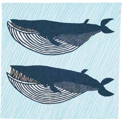 画像1: [104cm角 katakata むすび]ナガスグジラ ブルー(帯付) (1)