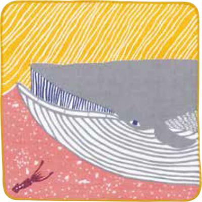 画像1: [ふろしきコミュニケーション:kata kata ふわふわタオル]ナガスクジラ ピンク(帯付) (1)