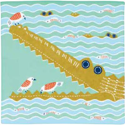 画像1: [50cm角 katakata むすび]ワニ グリーン(帯付) (1)