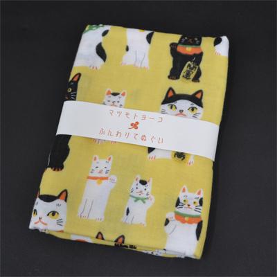 画像1: [二重ガーゼ手拭い:マツモトヨーコ]まねき猫【猫シリーズ】 (1)