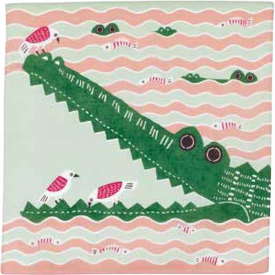 画像1: [50cm角 katakata むすび]ワニ ピンク(帯付) (1)