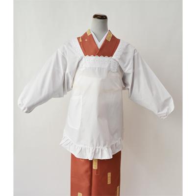 画像1: [和装割烹着] 角衿 裾丸  (1)
