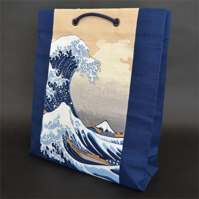 画像1: [和雑貨] 綿ショッピングバック 【ウエダオリジナル】 波裏 (1)