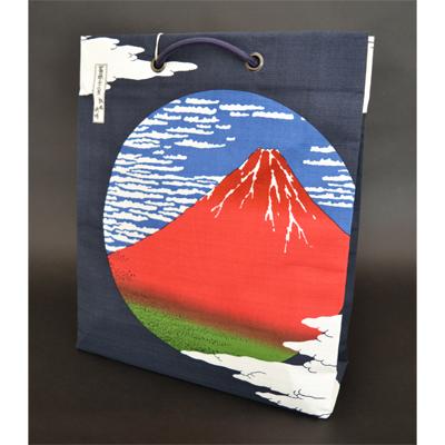 画像1: [和雑貨] 綿ショッピングバック 【ウエダオリジナル】 赤富士 (1)