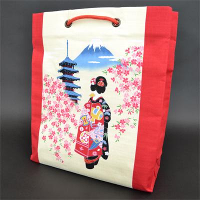 画像1: [和雑貨] 綿ショッピングバック 【ウエダオリジナル】ひとり舞子 (1)