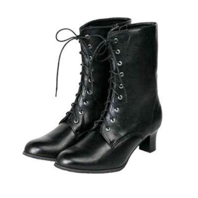 画像1: 【卒業衣装】 編み上げ式ブーツ (ブラック) (1)