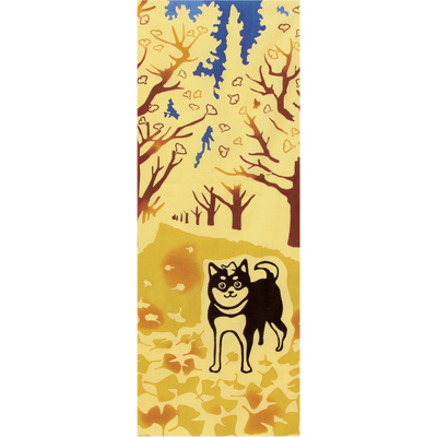 画像1: [和布華:注染手拭い]銀杏並木と柴犬 (1)