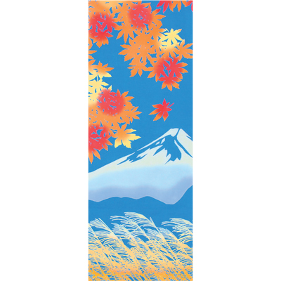 画像1: [和布華:注染手拭い]富士山に紅葉 (1)