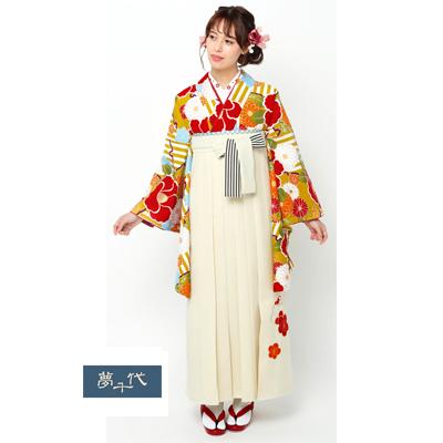 画像1: 【卒業衣装】 【夢千代】 袴  オフホワイト (1)