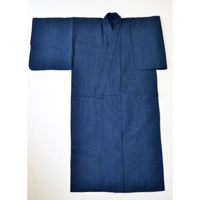 画像1: 【紳士浴衣】 しじら織プレタ浴衣 紺縞A (1)