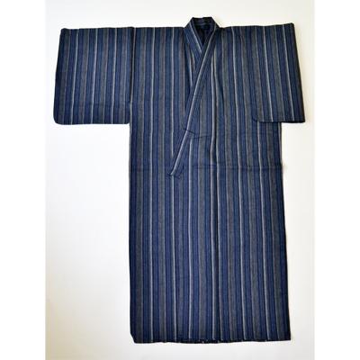 画像1: 【紳士浴衣】 しじら織プレタ浴衣 紺縞B (1)