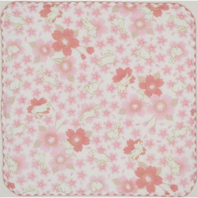 画像1: 【和心】 ガーゼたおる 春いろ兎 ピンク (1)
