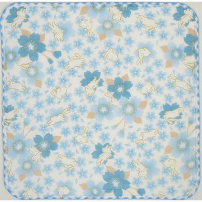 画像1: 【和心】 ガーゼたおる 春いろ兎 ブルー (1)